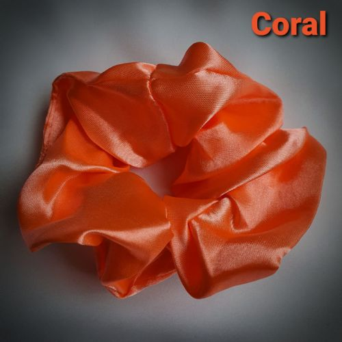 Coral Satin Scrunchie